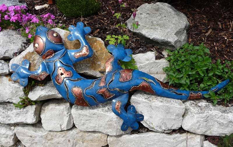 Eidechse gecko metall riesig wanddeko blau kupfer 80 cm ebay - Wanddeko eidechse ...