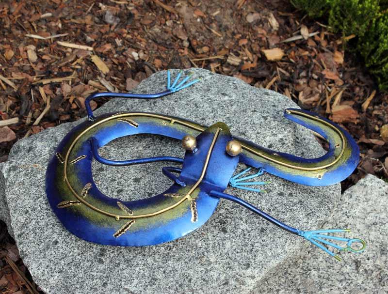 ... Salamander Gecko blau - gold Deko für Wohn- Haus- Garagenwand Metall